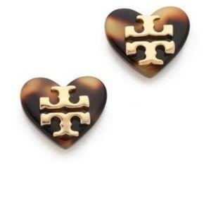 Tory Burch Tortoise Heart Logo Stud Earings